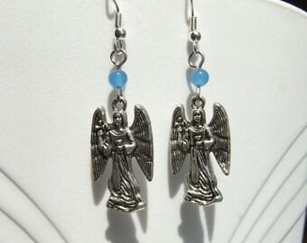 Archangel Zadkiel Blue Onyx Dangle Earrings