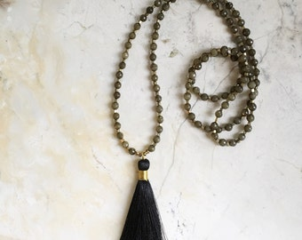 Black Tassel Necklace. Long Beaded Necklace. Mala Style Necklace. Gray Stones. Labradorite Beaded Necklace. Black Silk Tassel. Bohemian.