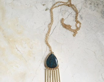 Dark Blue Stone Pendant. Chrysacola Necklace. Metal Fringe. Gold Necklace. Long Chain. Gold Filled. One of A kind. Modern Bohemian.