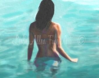 "Woman Art Print Wall Art Woman Painting Water Swim Sea Ocean Art Home Decor Prints Beach Art ""Soothing Swim"" Leslie Allen"