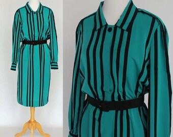80's  Striped Dress / Elastic Waist Dress / Long Sleeves / Teal Blue & Black / Medium