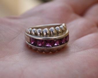Vintage BEAUTIFUL Real Pink Rhodolite Garnet 925 Sterling Silver Gemstone Ring Size 8 US