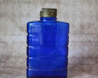 Vintage Evening in Paris Talc Powder Jar Cobalt Blue Glass Bottle Bourjois