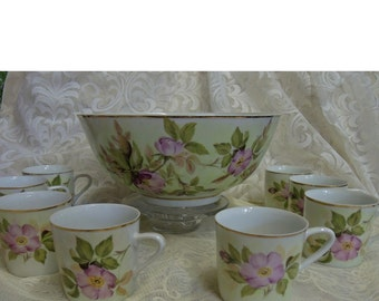 Antique Hand Painted Victorian China Punch Bowl With Eight Cups. Punch Bowl Set, Floral China, Wedding Gift