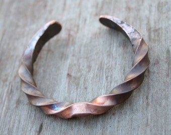 Forged Copper Bracelet, Solid Copper Bracelet, Blacksmithed Bracelet, Boho Bracelet