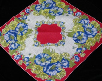 Vintage 1940's Linen Red, Royal Blue, Yellow Mixed Floral Wedding Handkerchief or Doily, 9709
