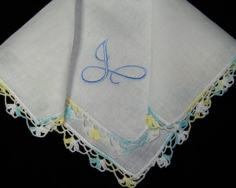 "Vintage Blue on White Monogrammed Monogram ""J"" Ladies Hand Crocheted Trim Brides Wedding Handkerchief, Hankie, Hanky - 9694"