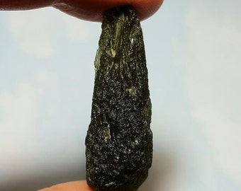 10.2 Gram Genuine MOLDAVITE TEKTITE METEORITE Large Drop Shape Green Tektite Impact Glass From Chlum Czech Republic