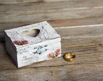 Vintage Ring Bearer Box with Roses - Pillow Alternative Chic, Elegant, Rustic Wooden Jewelry Box