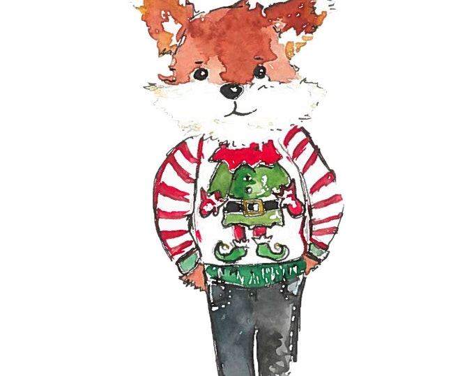 Christmas Fox wearing an ugly christmas sweater