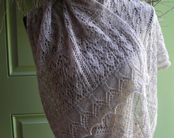 Knitting Pattern - easy lace rectangle shawl cowl wrap scarf - French Tuileries Garden Shawl - Eiffel Tower edging -  lace sock yarn -