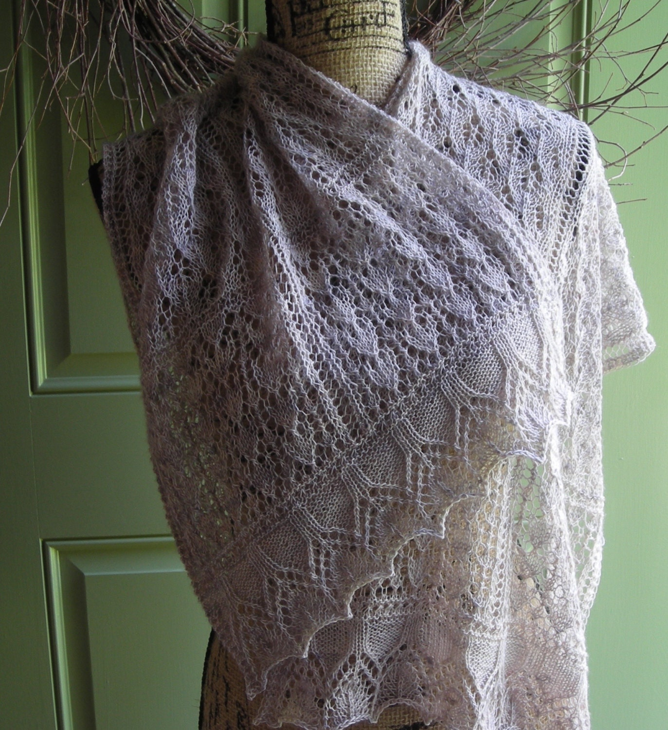 Knitting Pattern Lace Cowl : Knitting Pattern easy lace rectangle shawl cowl wrap scarf