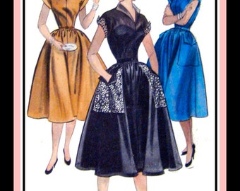 Vintage 1954-ROCKABILLY HONEY-Twirl Dress-Sewing Pattern-Three Styles-Shaped Collar-Cuffs-Patch Pockets-Full Twirl Flirt Skirt-Size 14-Rare