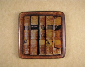 Jane Austen Book Collection Square Decoupage Glass Tile Paperweight Home Decor