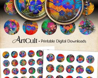 "1""+1.5""+ 30mm Circle images BOUQUET OF JOY Digital Collage Sheet Printable Download for pendants magnets bottle caps bezels cabochons"