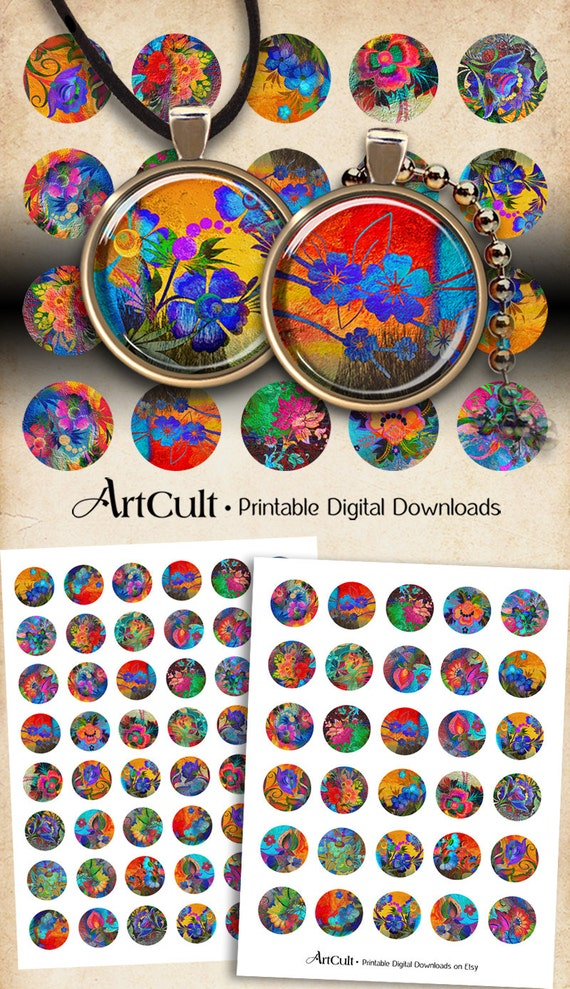 30mm and 1 inch Circle images BOUQUET OF JOY Digital Collage Sheet Printable Download for pendants magnets bottle caps bezels cabochons
