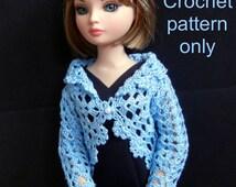 Crochet pattern (PDF) for 15- to 16-inch fashion doll - lacy spring cardigan for Ellowyne or Poppy