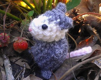 Bitty Possum - crochet possum - amigurumi opossum - crochet opossum - stuffed possum toy - possum plush - amigurumi possum