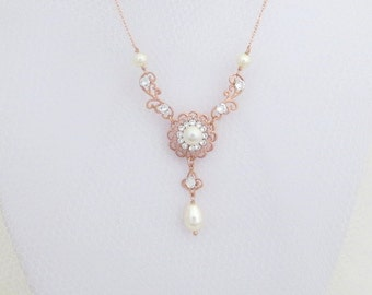 Rose Gold necklace, Bridal necklace, Wedding jewelry, Pearl necklace, Vintage style necklace, Swarovski necklace, Rhinestone necklace