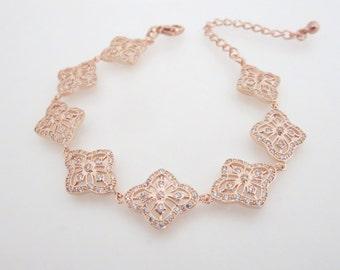 Rose Gold Bracelet, Bridal bracelet, Art Deco bracelet, Wedding jewelry, Bridesmaid jewelry, CZ bracelet, Crystal bracelet, Simple ADDIA
