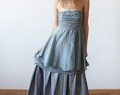 Strapless dusty blue gown dress peplum skirt