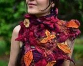 RESERVED - Felt Autumn Woodland Neck Warmer-Felt Autumn Leaf-Pixie Shawl-Wool Scarf-Felt Leaves-Fairy Costume-Wearable Art-ShawlOOAK