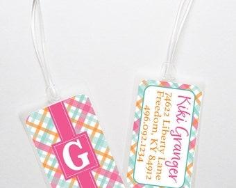Luggage Tag-  Personalized Bag Tag - Pink Plaid