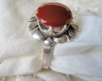 Antique carnelian and sterling ring, Art Deco sterling ring, French 925 ring, Antique flower ring, Vintage floral ring