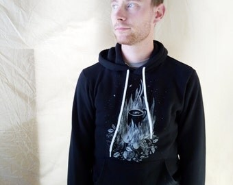 Unisex Fleece lined Hoodie - Silkscreened Coffee Fire Stars Sweater