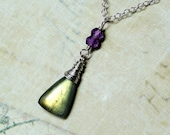Labradorite Necklace with Amethyst on Sterling Silver - Autumn by CircesHouse on Etsy