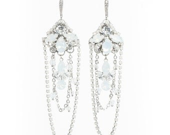 Bridal Chandelier Earrings , Long Crystal Earrings ,  Swarovski Opal Crystal Earrings , Statement Wedding Earrings , Couture Jewelry