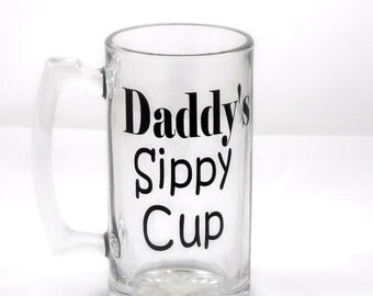Daddy's Sippy Cup-Beer Glass-Beer Stain-Birthday Gift for him-Baby Shower-Gift for Dad-Personalized-