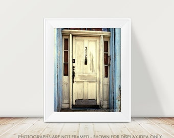 New Orleans Photography, White Door Photograph, rustic style, ocean blue white cream, French Quarter, shabby chic decor, Mardi Gras Art