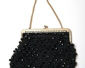 The Vintage Black Beaded Italian Made Hand Bag Purse