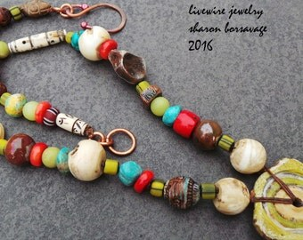 Primitive Tribal Earthy Organic Natural Beaded Necklace, Ceramic Glass Rustic Boho and Bird Charm Waxed Linen Dangles Necklace