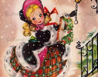 Pretty Girl with Christmas Gifts Card Image Digital Download vintage transfer card holiday xmas whimsical striped 1950s lantern cute snow