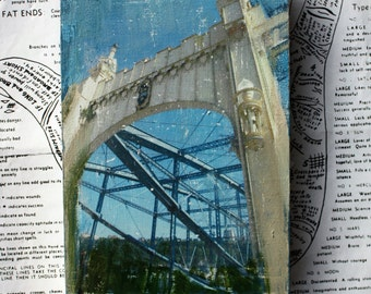 Pittsburgh, Bridge, 4 x 6, Original Mixed Media, Miniature Art, Tiny Art, Tiny House, Blue, Cityscape