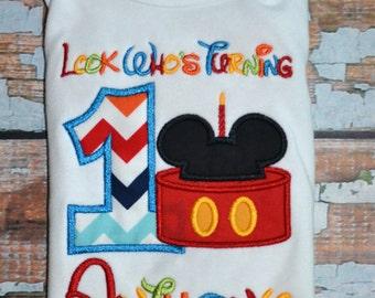 Look Who's Turning Mickey Mouse birthday Shirt, Boys Birthday Shirt, Disney Birthday shirt
