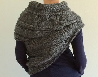 Hand knit District 12 KATNISS Inspired cowl wrap - Charcoal Grey - knitted cloak - Catching Fire - Ready to Ship - one available