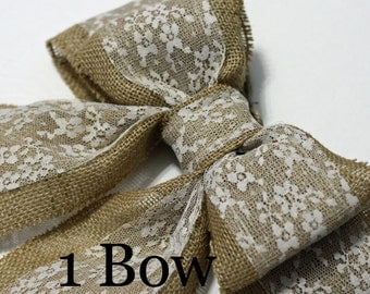 Burlap Pew Bows (1) Natural Burlap and Lace Large Double Bows Rustic Country Chic Wedding Decor Handmade Chair Bow