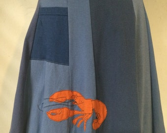 T-Skirt Upcycled, recycled, Atlantic ocean with Lobster appliqué t-shirt skirt