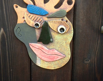 Bad Hair Day Abstract Ceramic Mask-Picasso  inspired ceramic wall Mask