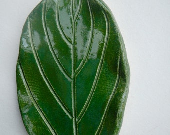 Green Leaf Spoon Rest-Ceramic Soap Dish