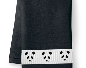 Panda Bear - Heavy Cotton Hand Towel - In Your Choice of Colors - Bathroom Decor