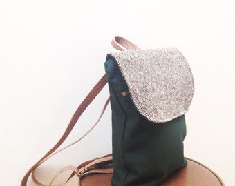 Brown and Green Mini Waxed Canvas Backpack. Small Backpack Purse. Small Canvas Rucksack. Eco Friendly Purse. Waxed Canvas Pack. Eco Bag.