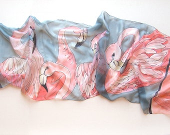 Lightweight scarf-Flamingos Dance/ Hand painted silk chiffon scarf. Neon pink and gray scarf/ Bright summer scarves/ Birthday gift women/