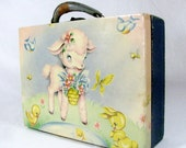 Vintage CHILD'S LUGGAGE CASE / Mid Century / 1950's / Baby Animals / Doll Case / Toy Case / Display