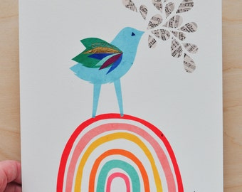 Singing Blue Bird - Rainbow Collection - 8x10 Fine Art Print by Megan Jewel