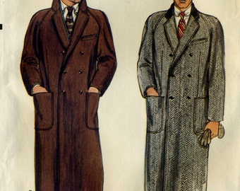 Vintage 70s Vogue 7467 CUT Mens Doublebreasted Long Winter Overcoat Sewing Pattern Size 38