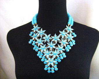 Forget Me Not - OOAK Fantasy Flower Bib Statement Necklace and Earring Set, Runway Look